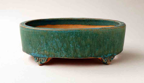 Turquoise Blue Oval Bonsai Pot 7.4