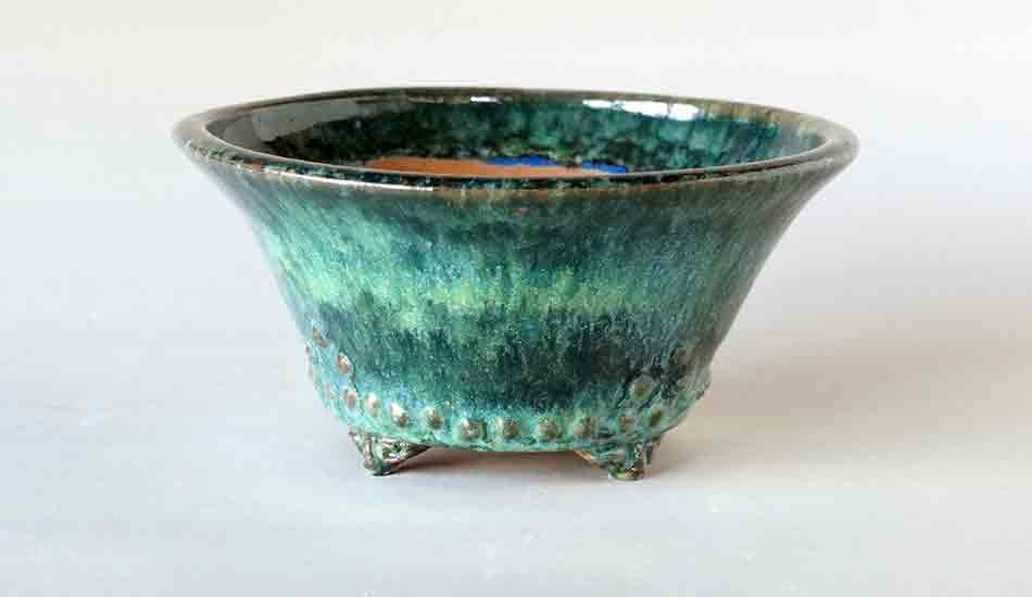 Deep Green, Blue & White Round Bonsai Pot with Rivets ++ Shipping Free!