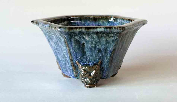 Demon Face Bonsai Pot in Navy Blue by Shuuhou