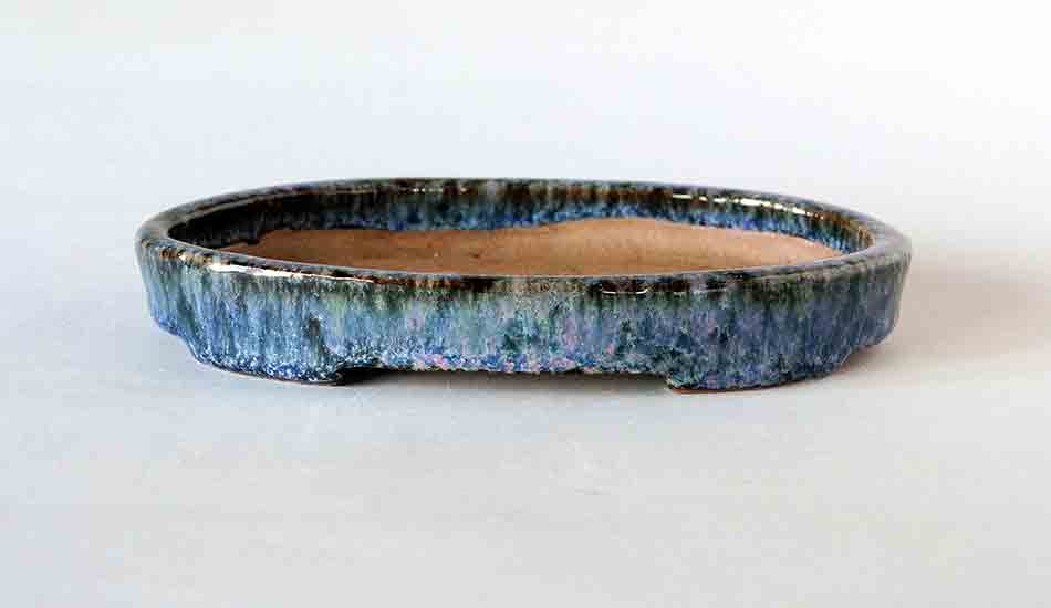 Navy with Pink! Shallow Oval Bonsai Pot by Shuuhou