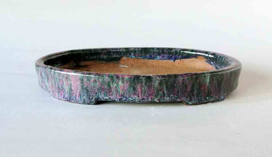 Green & Pink! Shallow Oval Bonsai Pot by Shuuhou