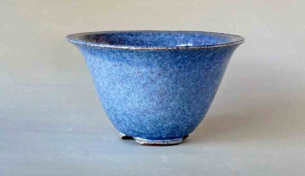 Shuuhou Round Bonsai Pot in Sky Blue Glaze 7.2