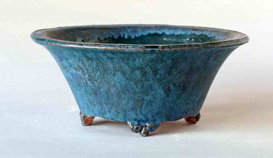 Old Feel! Round Bonsai Pot in Blue by Shuuhou