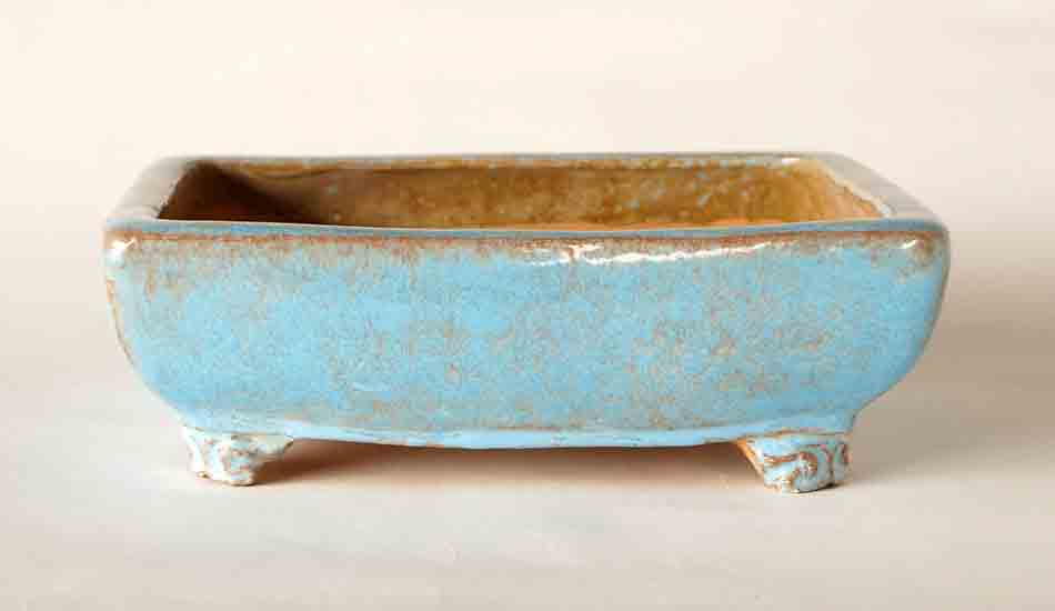 Bonsai Pot with Running Sky Blue Glaze by Shuuhou