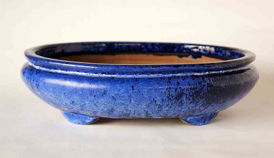 Sack Shaped Bonsai Pot in Blue Glaze by Shuuhou ++Shipping Free