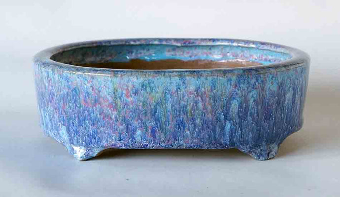 Oval Bonsai Pot with SkyBlue Blue Pink Glaze by Shuuhou ++Shipping Free