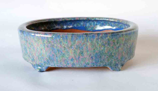 Oval Bonsai Pot with Blue Yellow Pink Green Glaze by Shuuhou ++ Shipping Free!