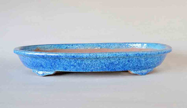 Oval Bonsai Pot in Right Blue Glaze by Shuuhou ++Shipping Free