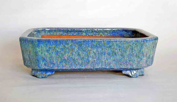 Bonsai Pot in Blue Glaze with Pink & Yellow dots by Shuuhou