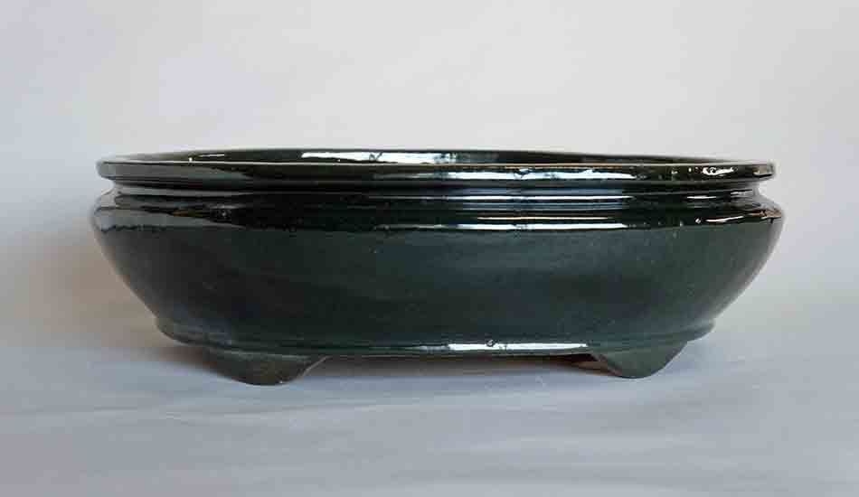 Sack Shaped Bonsai Pot in Deep Green Glaze by Shuuhou ++Shipping Free