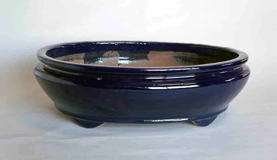 Sack Shaped Bonsai Pot in Navy Glaze by Shuuhou ++Shipping Free