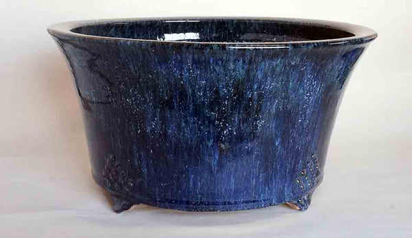 Round Bonsai Pot in Namako Glaze by Shuuhou