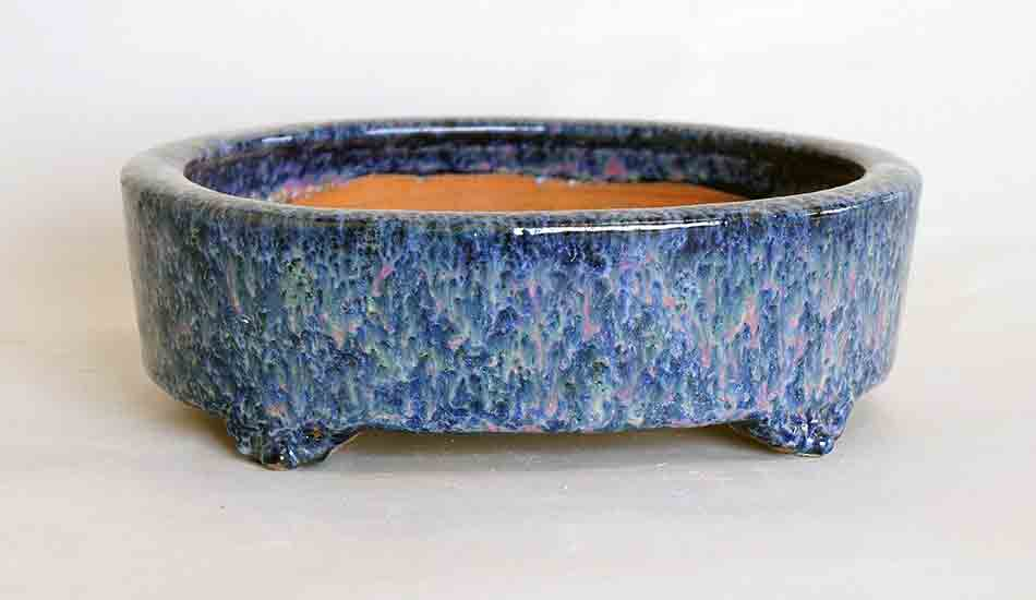 Pink & Yellow Over Blue Glazed Bonsai Pot by Shuuhou ++ Shipping Free!