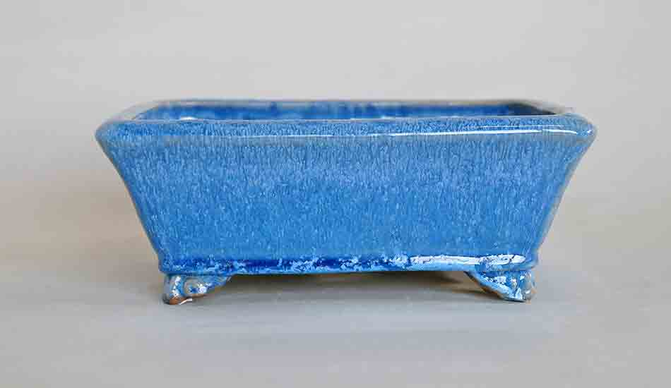 Rectangle Bonsai Pot in Blue Glaze by Shuuhou