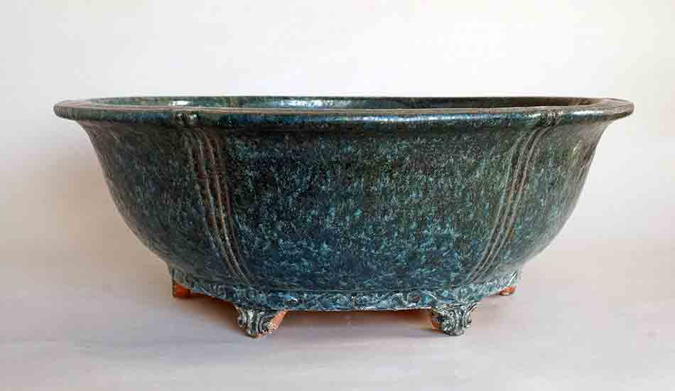Oribe Glazed Bonsai Pot with metallic feel made by ShuuhouⅡ&Ⅲ ++Shipping Free