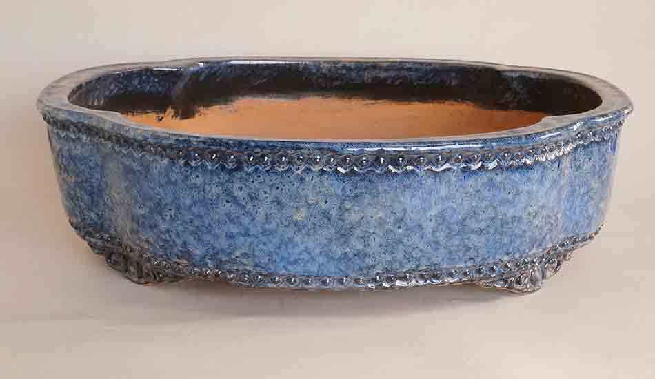 Large Mokko Shaped Bonsai Pot in Namako glaze by ShuuhouⅡ&Ⅲ ++Shipping Free
