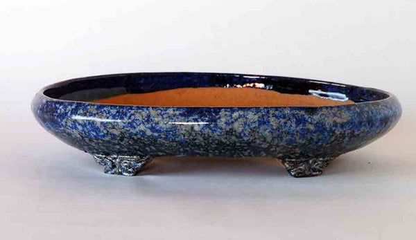 Namako Glazed Oval Bonsai Pot by Shuuhou