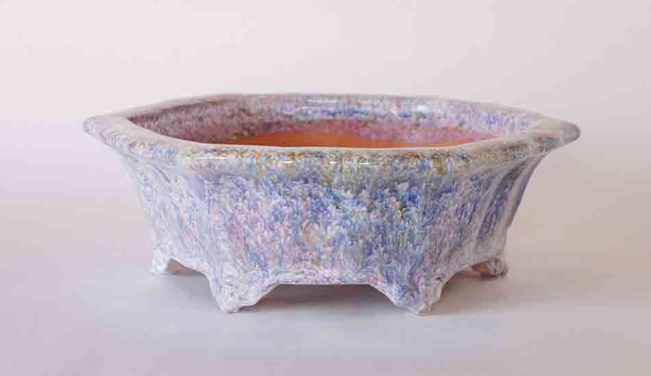 Pastel Glazed Octagonal Bonsai Pot by Shuuhou, 10 Inch