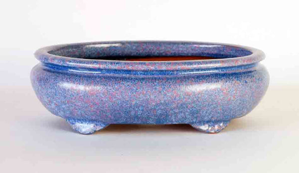 Sack Shaped Bonsai Pot in Sky Blue & Pink Glaze by Shuuhou, 9.8 Inch
