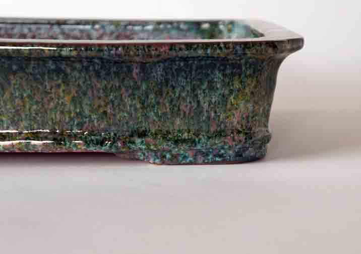 Rectangle Bonsai Pot in Oribe Glaze with Pink & Yellow by Shuuhou ++ Shipping Free!