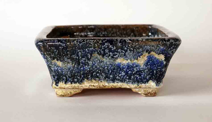 Shuuhou White Over Blue & Navy Glazed Bonsai Pot+++Shipping Free!