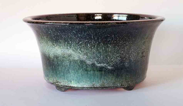 Glittering White Over Oribe Glazed Round Bonsai Pot by Shuuhou ++Shipping Free!