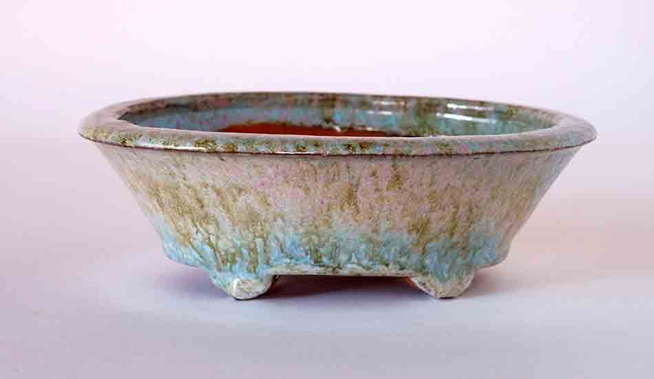 Oval Deep Bonsai Pot in Yellow, Pink & Sky-blue ++ Shipping Free!
