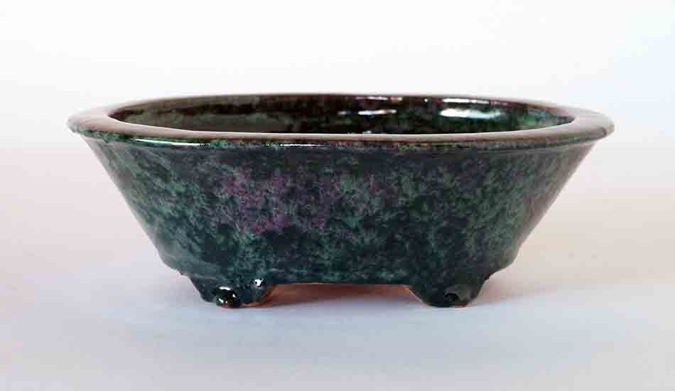 Oval Deep Bonsai Pot in Oribe Glaze with Pink Pattern ++ Shipping Free!
