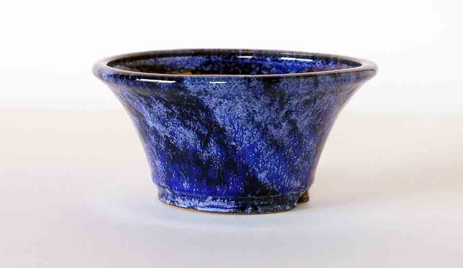 Blue Round Bonsai Pot by Shuuhou ++ Shipping Free!