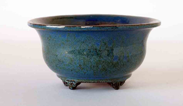 Old Feel! Sky-Blue Round Bonsai Pot with Rim by Shuuhou ++ Shipping Free!