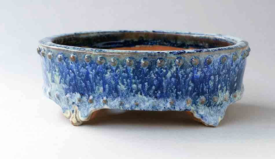 White & Deep Blue Oval Bonsai Pot with Rivets by Shuuhou ++ Shipping Free!