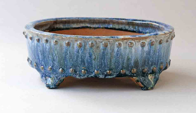 White Over Green & Blue Oval Bonsai Pot with Rivets by Shuuhou ++ Shipping Free!