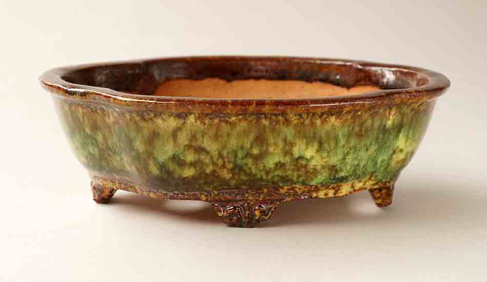 Mokko Shaped Bonsai Pot in Brown, Green &Yellow Glazes by Shuuhou ++Shipping Free!
