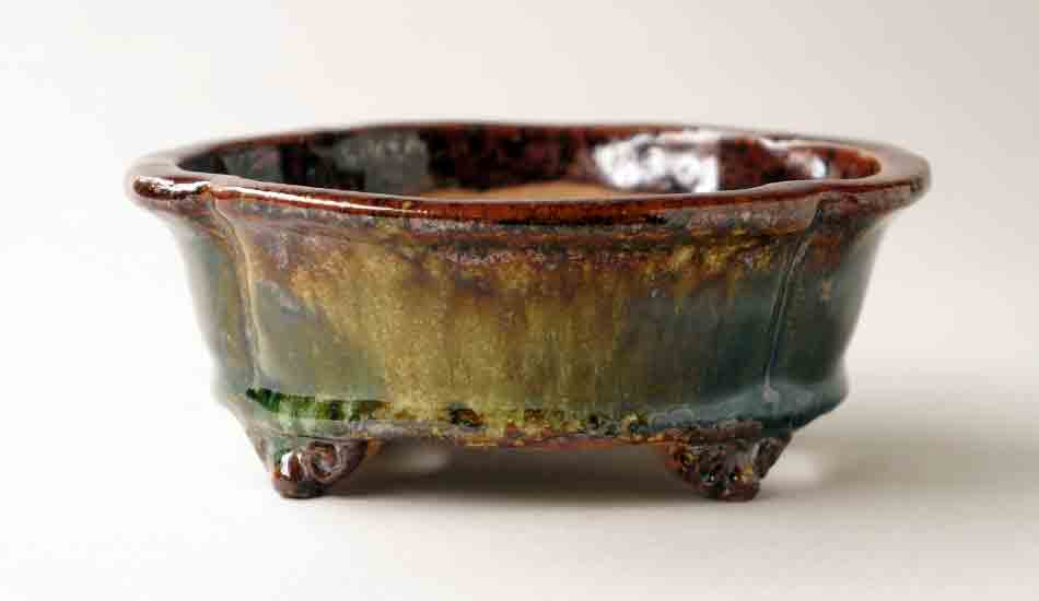 Mokko Shaped Bonsai Pot in Brown Green & Yellow by Shuuhou ++ Shipping Free!
