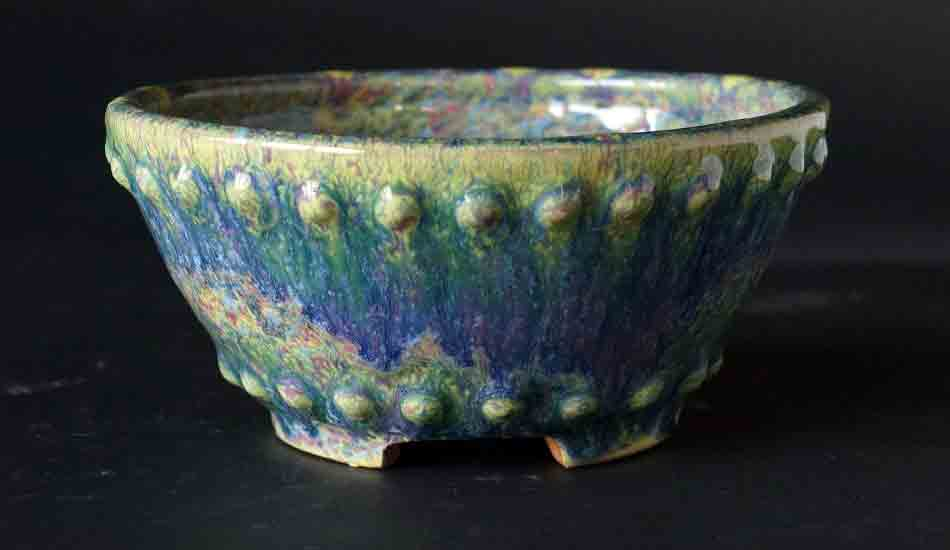 Iridescent Round Bonsai Pot with Rivets by Shuuhou ++ Shipping Free!