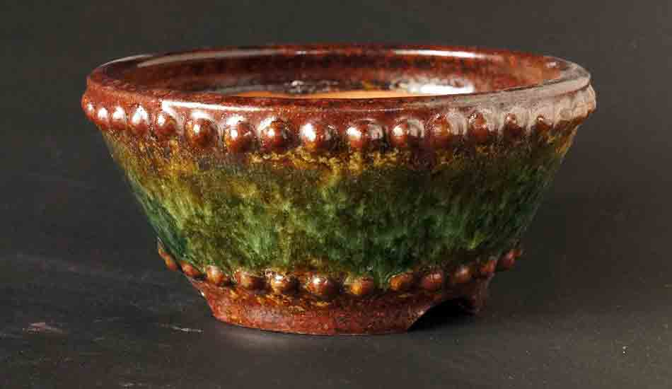 Round Bonsai Pot in Brown, Green & Yellow Glazes by Shuuhou ++ Shipping Free!