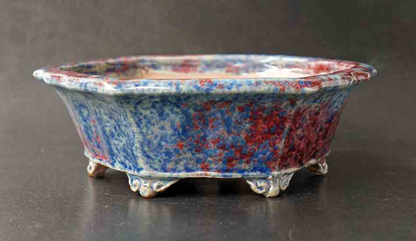 Shuuhou Octagonal Bonsai Pot in Blue and Red Glaze ++Shipping Free!!!