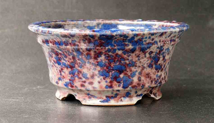 Shuuhou Round Bonsai Pot in Purple and Blue Glaze +++Shipping Free!!!