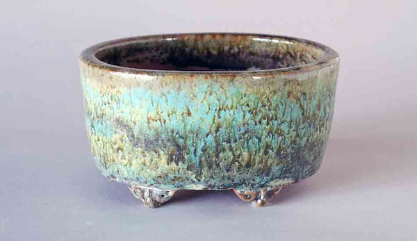 Shuuhou Oval Bonsai Pot with Yellow Green&Light Blue ++Shipping Free!