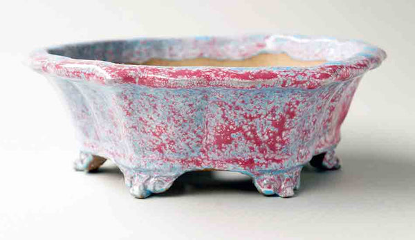 Light Blue & Pink Octagonal Bonsai Pot by Shuuhou ++Shipping Free!