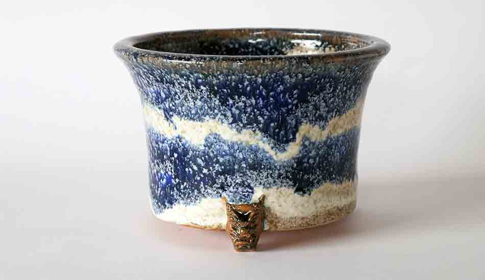 Demon Face Bonsai Pot with Blue and White by Shuuhou