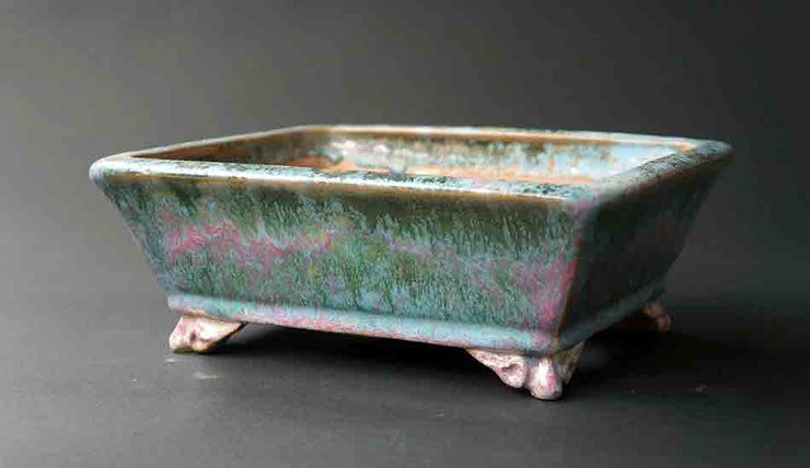 Shuuhou Rectangle Bonsai Pot in Green & Pink Glaze+++Shipping Free!