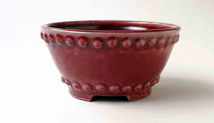 Round Bonsai Pot In Red Glaze by Shuuhou+++Shipping Free!