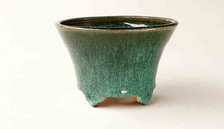 "Shuuhou Round Bonsai Pot in Green Glaze 4.7""(12cm)+++Shipping Free!"