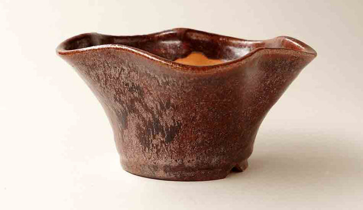 Wave Shaped Bonsai Pot with Aventurine Glaze by Shuuhou+++SHipping Free!