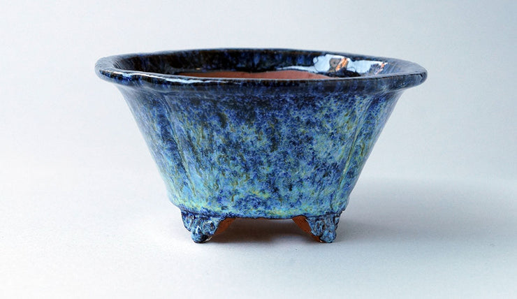 Mokko Shaped Bonsai Pot in Blue & White Glaze by Shuuhou+++Shipping Free!