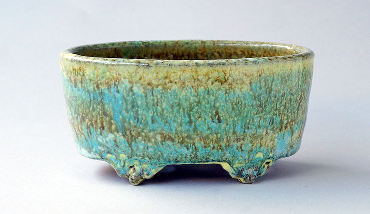 "Oval Bonsai Pot in Yellow green and Sky blue by Shuuhou 6.2""(16cm)+++Shipping Free!"
