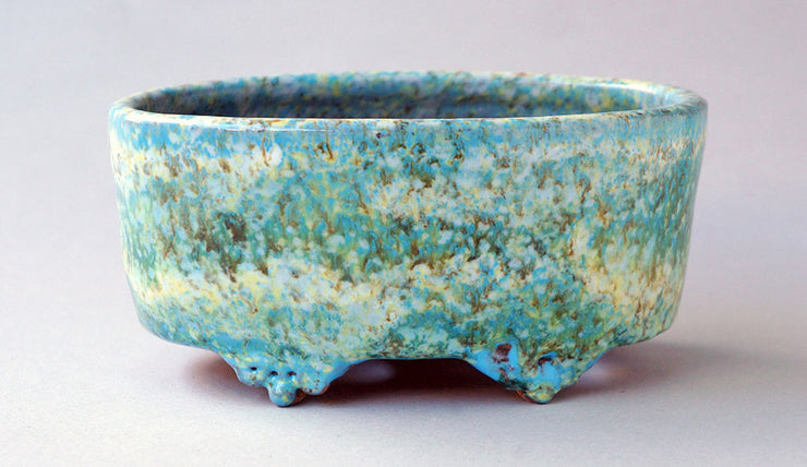 "Oval Bonsai Pot in Skyblue, Green and White by Shuuhou 6.2""(16cm)+++Shipping Free!"