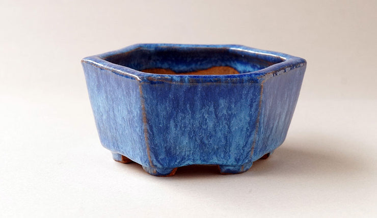 Blue Hexagonal Bonsai Pot by Shuuhou+++Shipping Free!