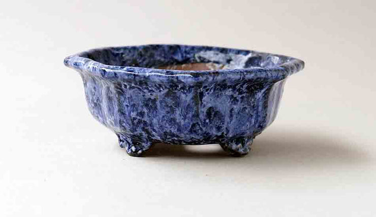 Octagonal Bonsai Pot with Blue and White Glaze by Shuuhou+++Shipping Free